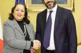 سفيرة فلسطين لدى ايطاليا تلتقي رئيس البرلمان الجديد