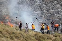 """إخلاء مستوطنين من """"يتسهار"""" بسبب حريق أشعله شبان فلسطينيون"""