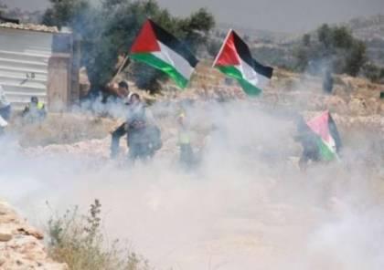إصابات بالاختناق بعد قمع الاحتلال مسيرة شرق رام الله