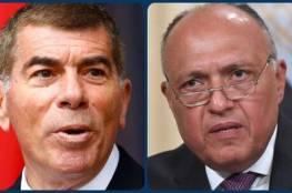 وزير الخارجية المصري يشدد لأشكنازي على ضرورة وقف الاعتداءات الإسرائيلية على الأراضي الفلسطينية