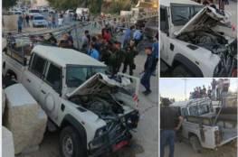 صور : استشهاد ثلاثة رجال امن اثر حادث سير في جنين