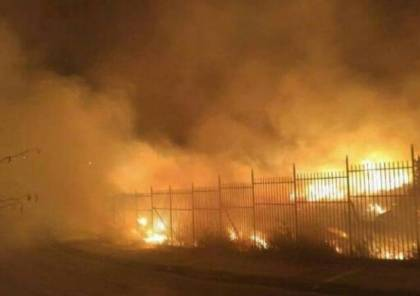 حريق ضخم نتيجة انفجار تنك غاز في الرام بالقدس