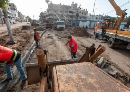 بلدية غزة تشرع بإنشاء دوار على تقاطع شارعي صلاح الدين وعون الشوا