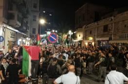 اصابات واعتقالاتٌ عشوائية لشرطة الاحتلال في قمع لمظاهرة مناصرة لغزة