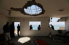 آثار القصف الإسرائيلي على غزة فجر اليوم