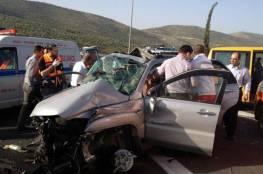 نابلس: اصابة زوجين جرّاء انقلاب سيارة في حادث سير ذاتي