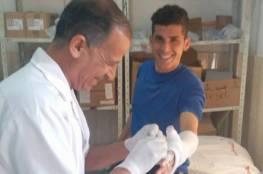 """إصابة لاعب شباب خانيونس""""ابو شقير"""" في يده"""