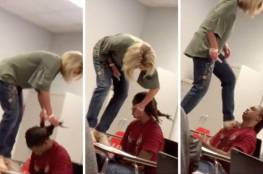 فيديو.. معلمة تهين طالبتها بوضع قدمها على كتفها !