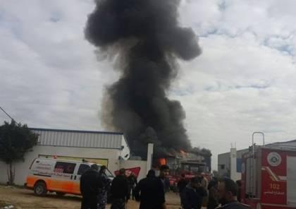 اصابة في حريق بمصنع شمال غزة