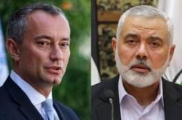 """حماس تكشف تفاصيل لقاء """"هنية"""" وملادينوف بشأن المصالحة الفلسطينية"""