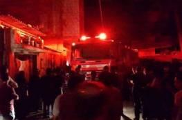 52 إصابة باندلاع حريق بمخازن تجارية في مدينة نابلس