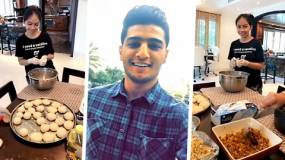 محمد عساف يستمتع بتحضير والدته لفطائر السبانخ
