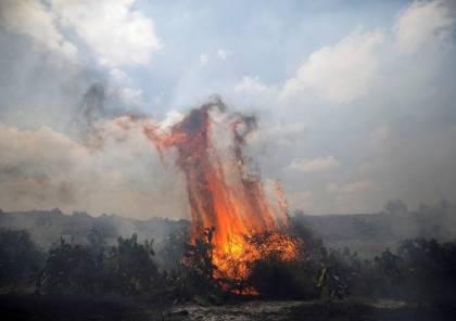 اندلاع 6 حرائق بمستوطنات غلاف غزة بفعل طائرات حارقة