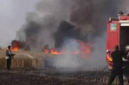 اشتعال النيران في احراش مستوطنات شرق مخيم البريج