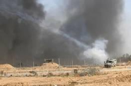 حريق كبير في الأراضي المحتلة شرق غزة بفعل طائرة ورقية تحمل مادة حارقة