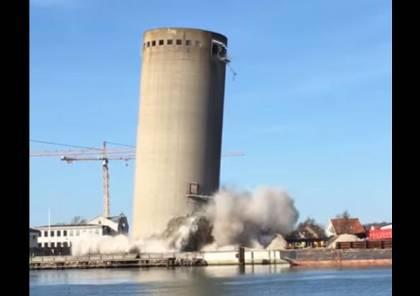 فيديو.. عملية هدم برج تنتهي بمصيبة حقيقية