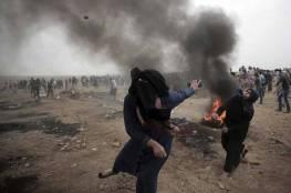 اصابة العشرات في اعتداء الاحتلال على المشاركات في مسيرة نسوية لكسر الحصار شرق غزة