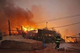 """حريق هائل في مستوطنة """"كرمي قطيف"""" في غلاف غزة واخلاء مستوطنيها بالكامل"""