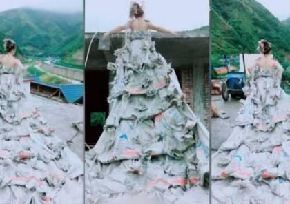 فستان زفاف من أكياس الاسمنت!