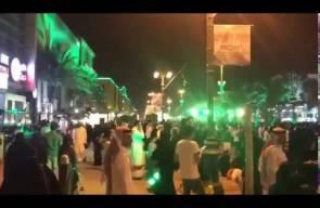 احتفالات موسيقية صاخبة في شارع التحلية في الرياض احتفالا باليوم الوطني