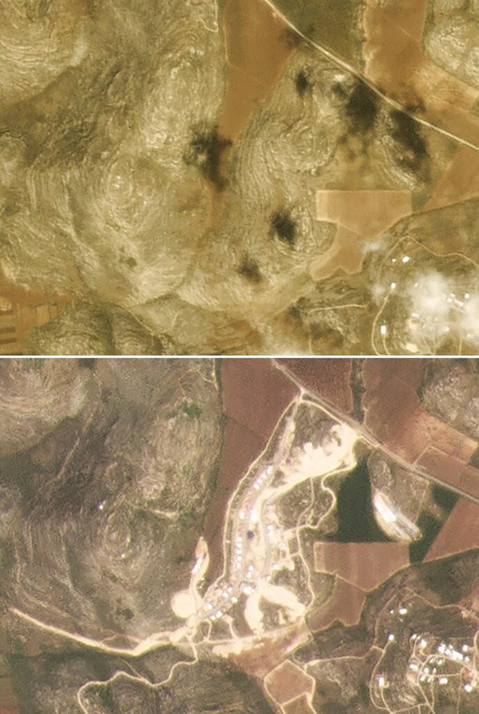 """صورة التقطت عبر الأقمار الاصطناعية تظهر التوسع الاستيطاني في البؤرة الاستيطانية """"عميحاي""""، بين آذار 2017 وآذار 2021 - 9000 وحدة استيطانية خلال 3 سنوات"""