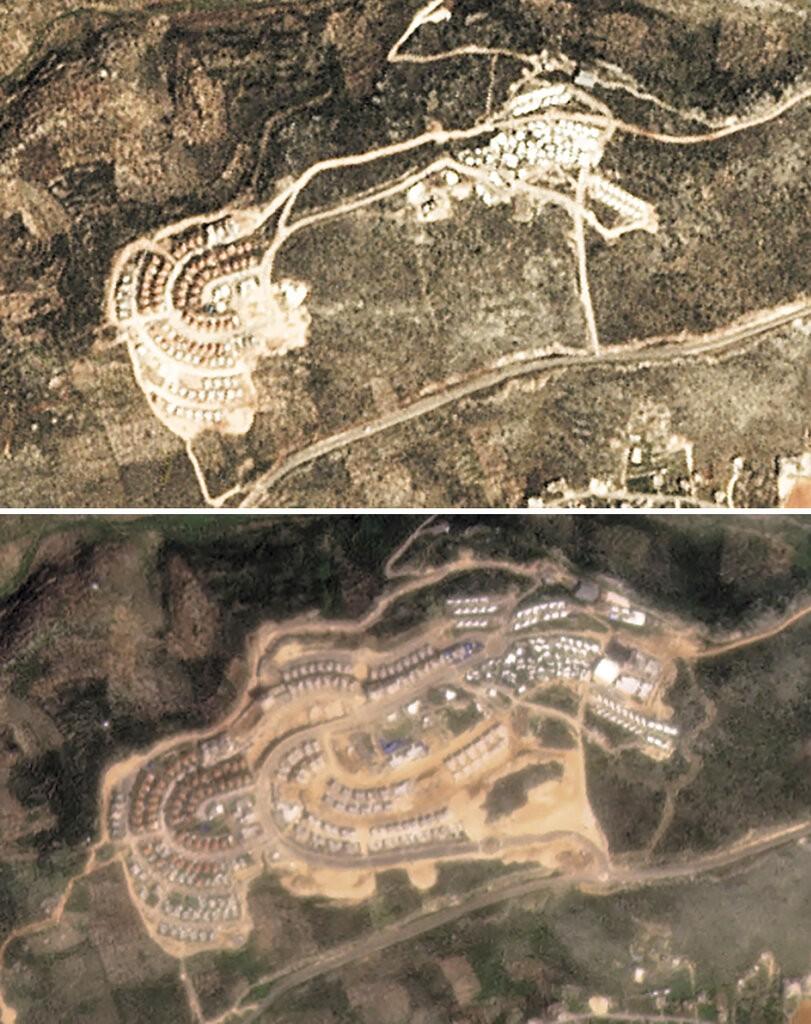 """صورة التقطت عبر الأقمار الاصطناعية تظهر التوسع الاستيطاني في مستوطنة """"بروخين""""، بين آذار 2017 وآذار 2021 - 9000 وحدة استيطانية خلال 3 سنوات (أ ب - Planet Labs)"""