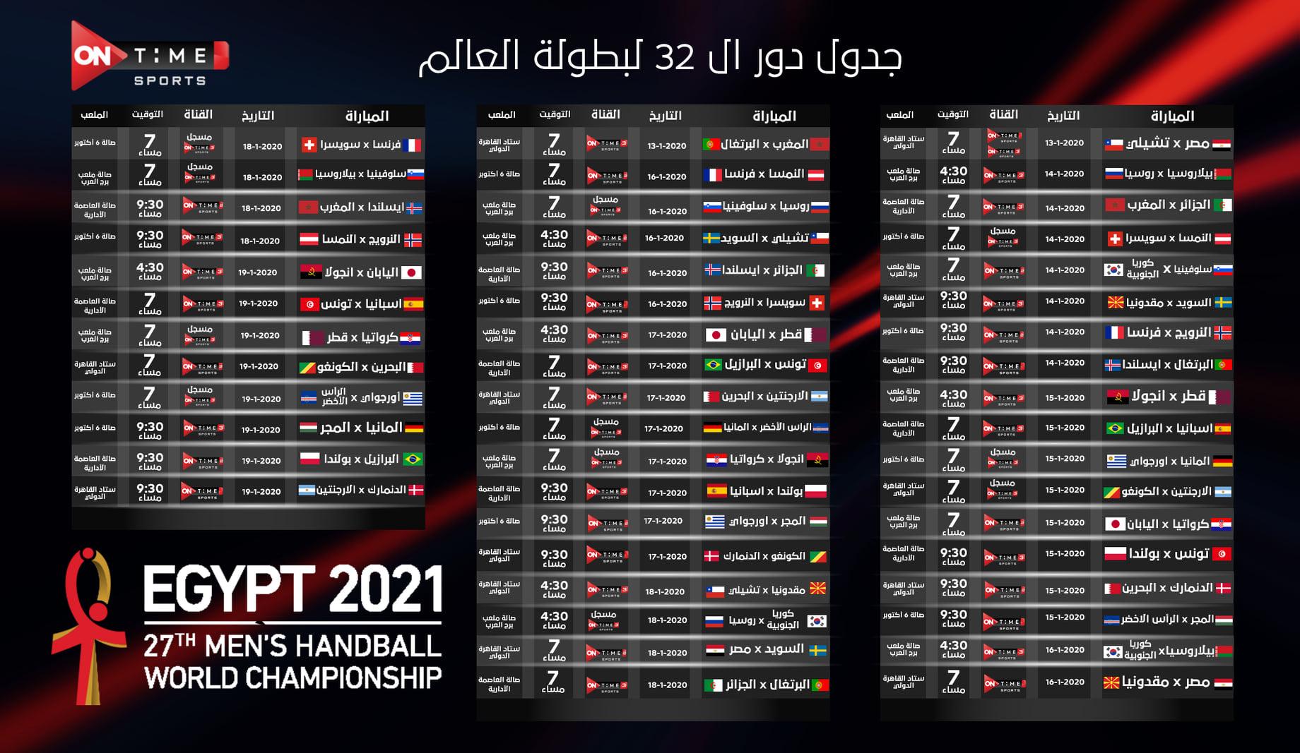 جدول مواعيد مباريات كأس العالم لكرة اليد 2021 مونديال مصر - سما الإخبارية